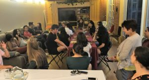 Photo of students eating in faculty apartment